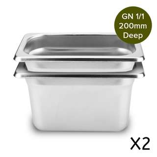 2 x SOGA Gastronorm GN Pan Full Size 1/1 GN Pan 200mm Deep Stainless Steel Tray