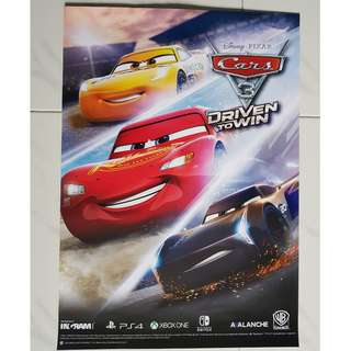 Disney Cars 3 A2 Size Poster