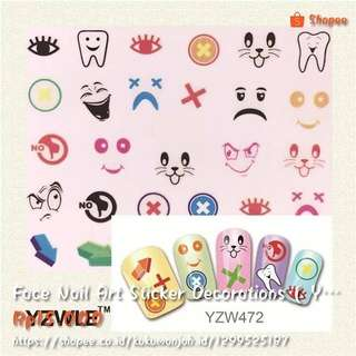 Face Nail Art Sticker Decorations