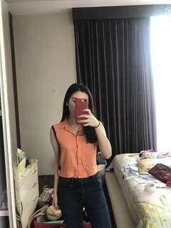 Salmon cropped top