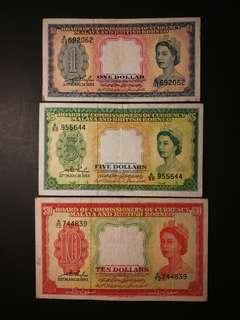 Malaya Queen $1, $5 & $10 1953 (VF)