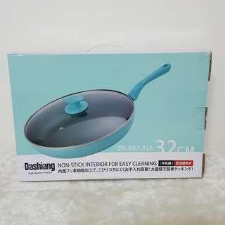 全新Dashiang大相感溫32cm平煎鍋+玻璃蓋