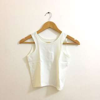 White Razor Front Cropped Top