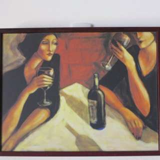 Lukisan Girl Drinking Together with Frame