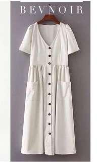 Brand New Vintage Buttons Midi Dress