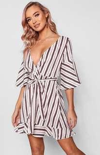 Striped Flute Sleeve Wrap Dress