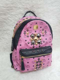 Authentic MCM bagpack pink large