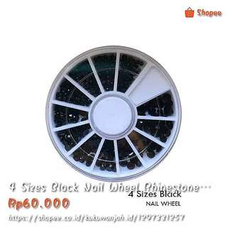 4 Sizes Black Nail Wheel Rhinestone / Dekorasi Kuku