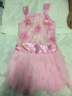 Pink dress with floral design and beads on front top only