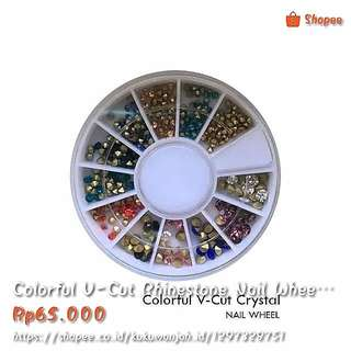 Colorful V-Cut Rhinestone Nail Wheel