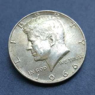 1966年 美國銀幣半美元(50美分)一枚
