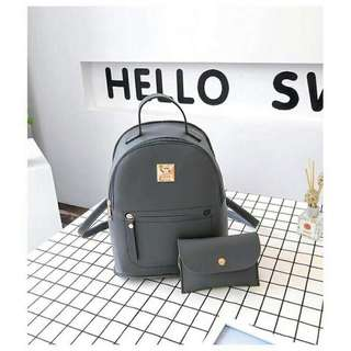Korean 2 in 1 backpack and pouch (gray)