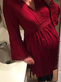Ishka Romantic Boho Red Lace Trim Dress Bell Sleeves BNWT