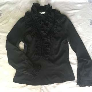 Black gothic lolita frilled top