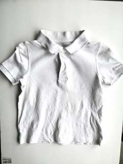PRELOVED MOTHERCARE Boy's Short Sleeves Plain White Collared T-shirt - in very good condition