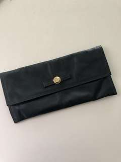 Navy Leather Vintage Clutch from London