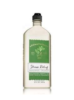 BN Bath & Body Works Aromatherapy STRESS RELIEF - EUCALYPTUS & SPEARMINT Body Wash & Foam Bath