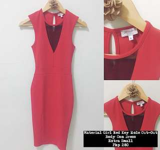 Material Girl Red Key Hole Cut-Out Body Con Dress