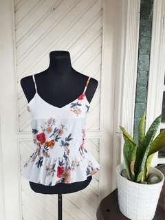 Floral Sleeveless Ruffled Top