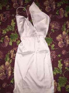 Aleena Asymmetric Satin dress in White
