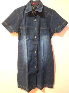 Midi Dress, Bahan Jeans, Size S