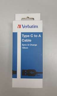 VERBATIM TYPE-C sync charge cable 1.2M充電線