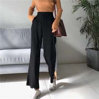 🚚 Black Long Culottes Office Casual Pants