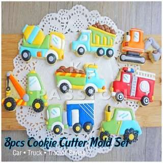 🚚 8PCS COOKIE CUTTER MOLD SET [ Car • Truck • Tractor ] Cake Decorating Tool for Cookies • Fondant Cake & Cupcake • Bread Dough • Pastry • Sugar Craft • Jelly • Gum Paste • Polymer Clay Art Craft •