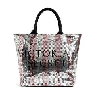 Authentic VICTORIA'S SECRET Large SEQUIN TOTE BAG Band New With Tags