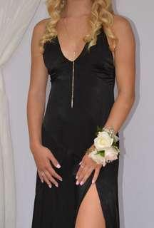 Black satin prom or fancy dress one leg slit worn once