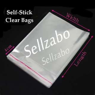Many Sizes Self Stick Clear Bags : Sellzabo Opp Put Clothes Storage Store Sell Sellers Selling Transparent Adhesive See Through Plastic Stationery Stationeries