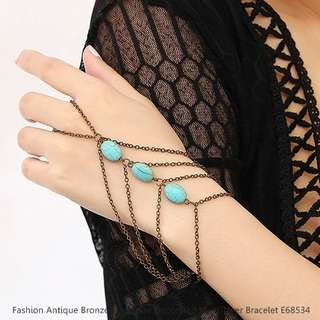Fashion Antique Bronze Turquoise Decorated Multi-layer Bracelet E68534