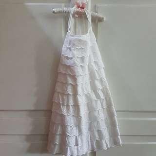 Dress White Indigo Kids 8-9 Tahun
