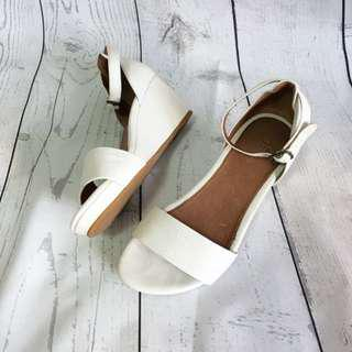 Wittner White Leather Wedges Size 38