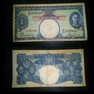 King George $1 Malaya notes