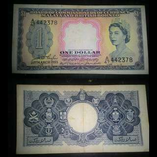 Queen Elizabeth II $1 Malaya notes