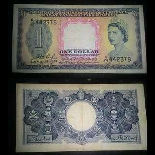 Queen Elizabeth II $1 Malaya notes