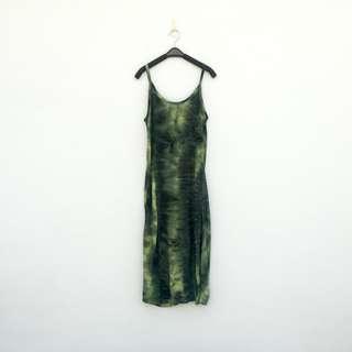 🚚 二手 綠色 暈染 彈性 低胸 洋裝 明太子 711