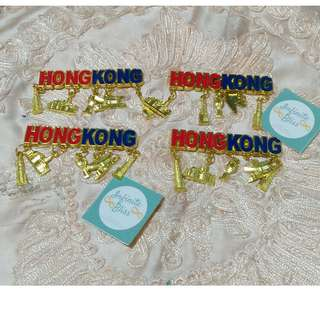 Hongkong Gold Plated Metal Refrigerator Magnets