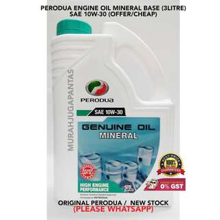 PERODUA ENGINE OIL MINERAL BASE (3 LITRE) SAE 10W-30 (OFFER/CHEAP)