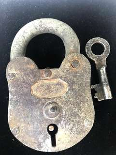 Ca. Early 1900's Huge Soviet Era Russian Vintage Iron Perfectly Working Lock with Key. Almost 780 grams 13.5x8 cm Large Size!