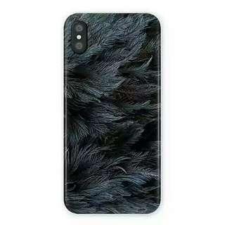 玻璃面冷淡風黑羽IPhone case