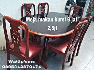 Meja makan jati 6kursi SECOND