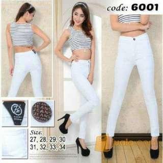 [Makassar] soft jeans stertchy white highways