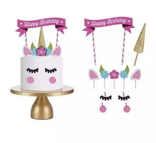 🚚 Cute Unicorn Cake Topper