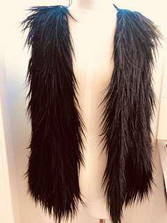 DIANA FERRARI Black Faux Fur Wool vest size 10
