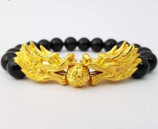 999 gold DRAGON head bracelet