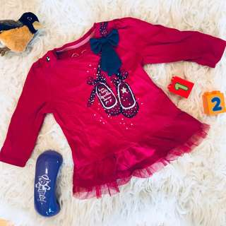 🌺Mothercare Red Baby Shirt with Bow 3-6m