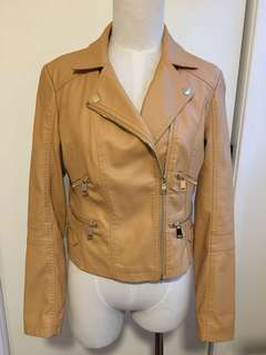 DANGERFIELD MUSTARD TAN FAUX LEATHER JACKET GOLD ZIPPER DETAILS