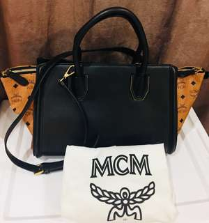 Authentic💯 MCM Classic Brown with Black Leather Zip Tote